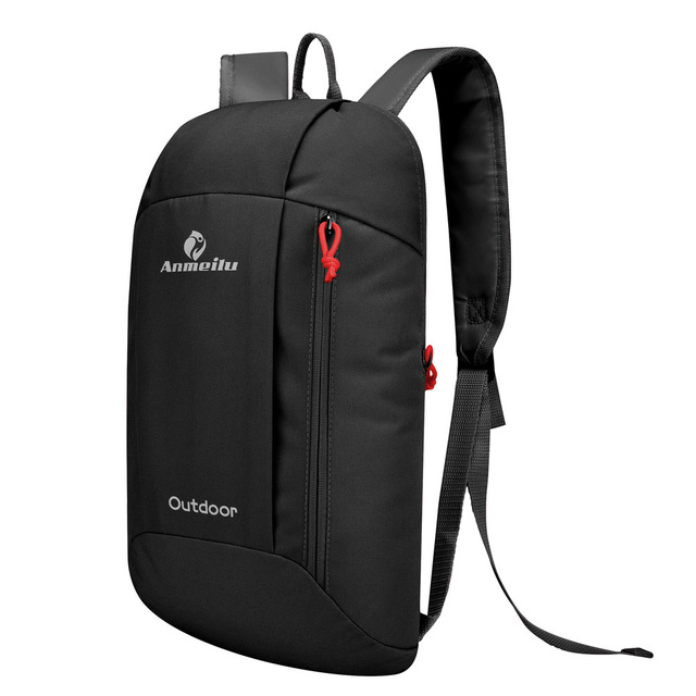 Black Nylon Backpack for Sports and Hiking