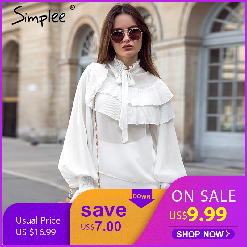 Simplee Ruffle stand collar vintage   blouse     shirt   women Flare long sleeve white   blouse   Casual summer chiffon blusas female