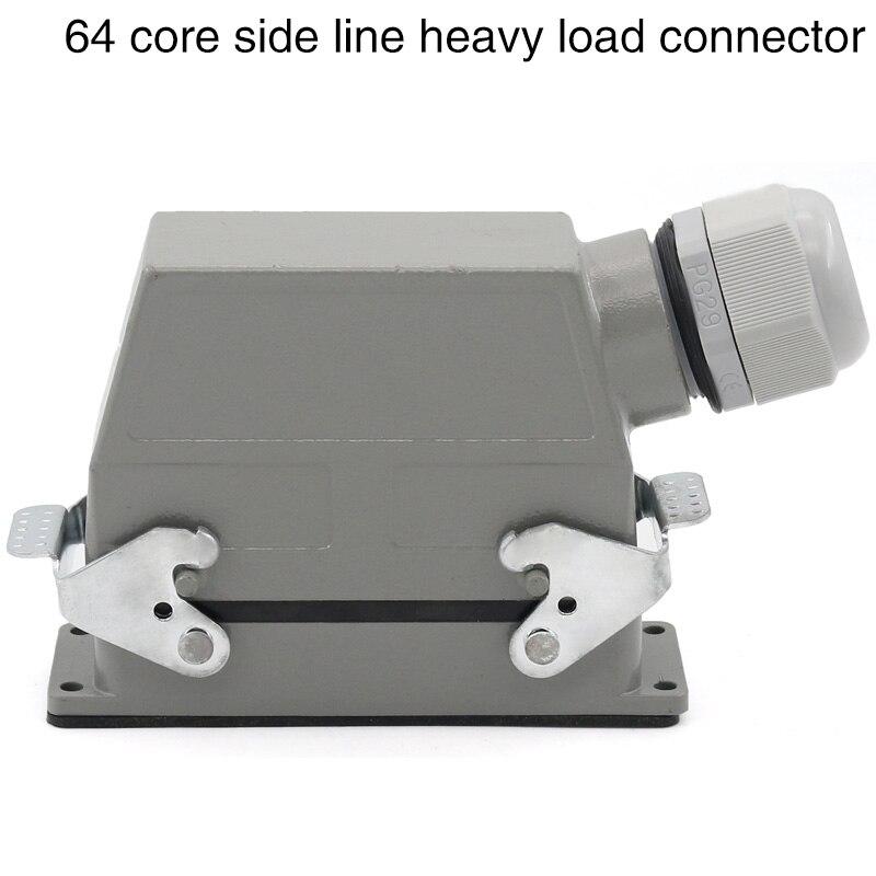 Hdc-hd-064 heavy duty connector 64 - core cold - pressed rectangular aviation plug socket industrial waterproof plug 10A