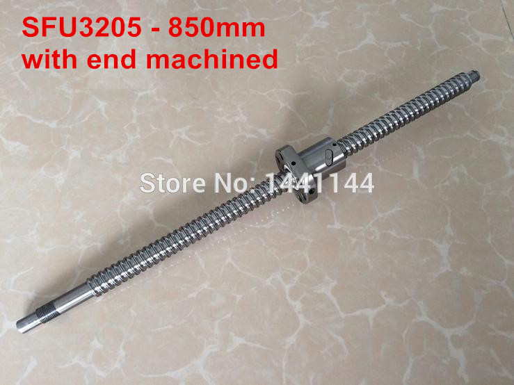 SFU3205- 850mm ballscrew with ball nut with BK25/BF25 end machined ballscrew 3205 l700mm with sfu3205 ballnut with end machining and bk25 bf25 support