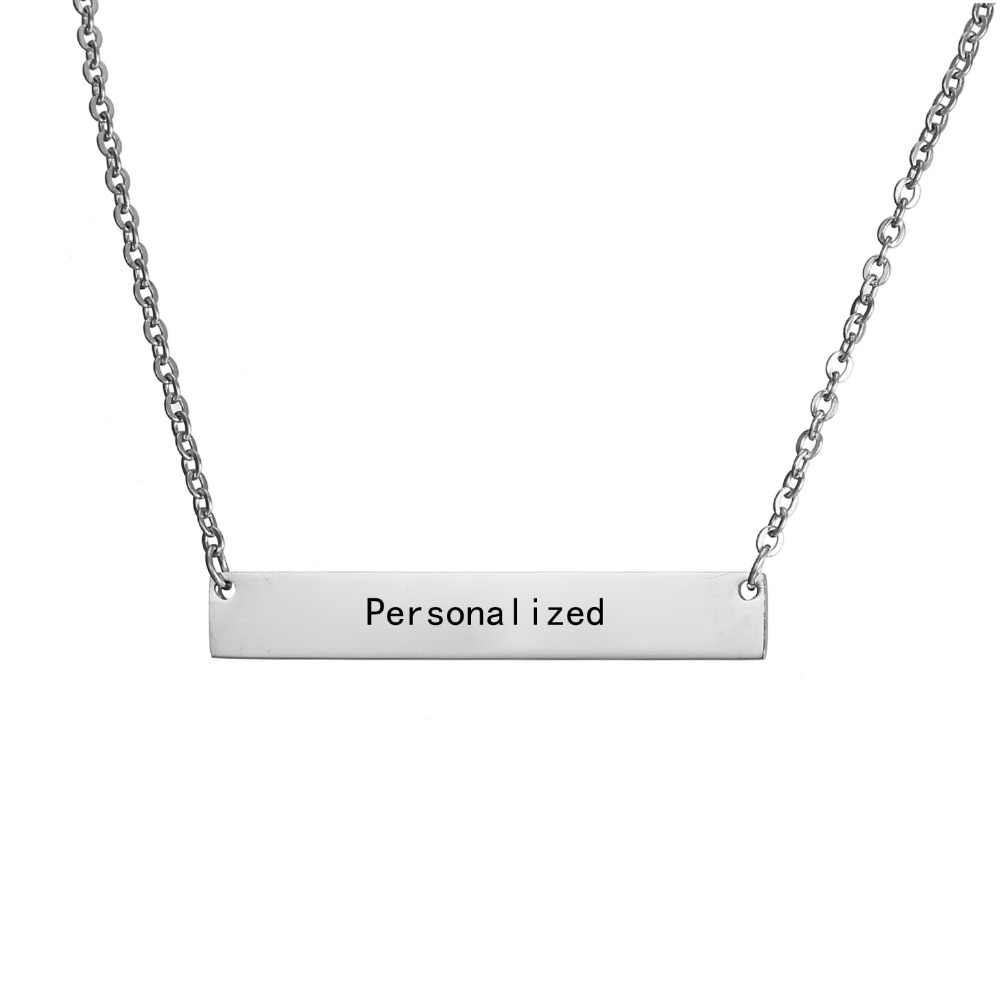 New Personalized Blank Bar Pendant Necklace 3 Colors Stainless Steel Custom Name Plate Necklace Can Engrave Word Letters Jewelry