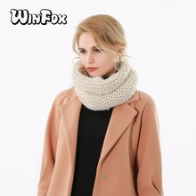 Winfox 2018 New Fashion Winter Black Beige Burgundy Solid Color Knitted Neck Warmer Loop Scarves Womens