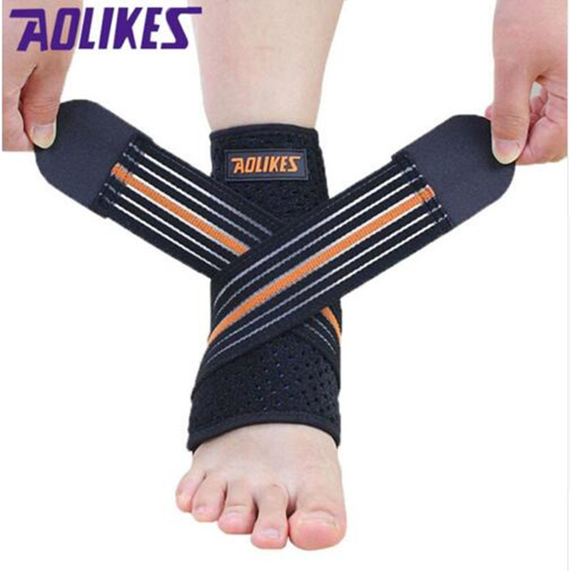 1PC Sport breathable Ankle Brace Protector Adjustable Ankle Support Pad Protection Elastic Brace Guard Support Football HBK086 ...