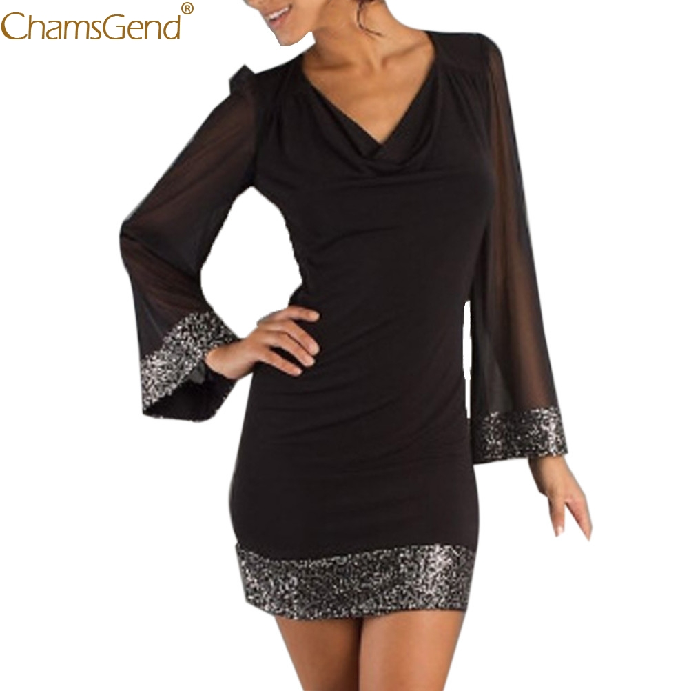 Casual V-Neck Black formal dress women elegant dress elegant Sequined Natural Long Sleeve dresses woman party night Feb2