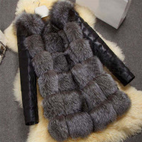 Fashion Winter Women Imitation Fox Fur Coat PU Leather Long Sleeve Jacket Keep Warm Outwear Lady Casual Overcoat S 3XL