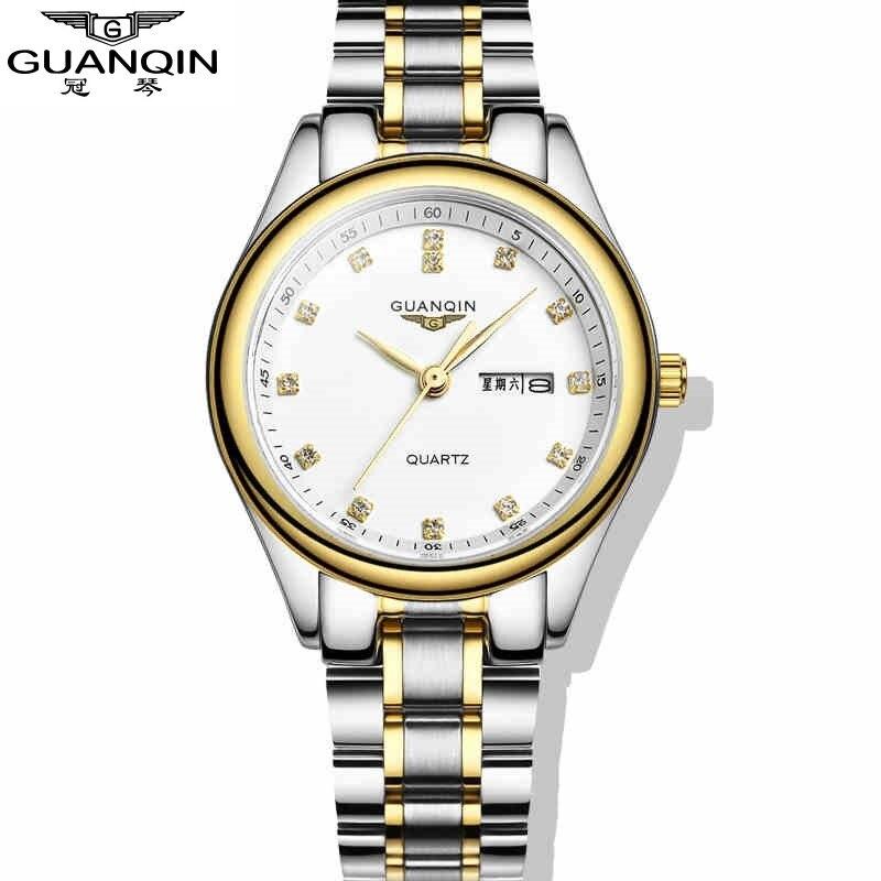 ФОТО Fashion Dual Calendar Diamond GUANQIN Watches Woman Brand Luxury Reloj Women Dress Watches Rhinestone Quartz Watch Week Display