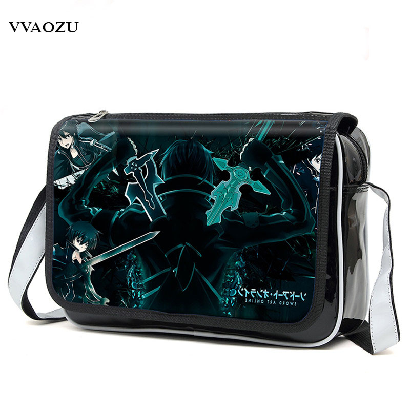 New Fashion Sword Art Online Cosplay Bag SAO Kirigaya Kazuto Anime Shoulder Bag PU Waterproof Travel Messenger Bags anime figma 289 sword art online ii kirito alo ver alover kirigaya kazuto pvc action figure collectible model toy 14cm kt2969