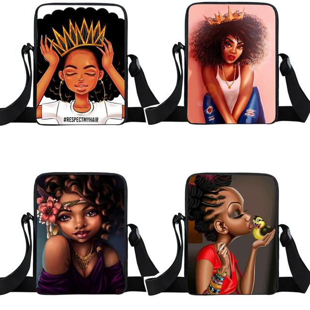 Afro Lady Girl messenger bag Africa Beauty Princess small shoulder bag brown women handbag mini totes teenager crossbody bags 1
