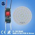 1 pce 3W 5W 7W 9W 12W 15W 18W 24W SMD5730 LED lamp LED bulbs for ceiling chandelier light +100-240V LED driver power supply