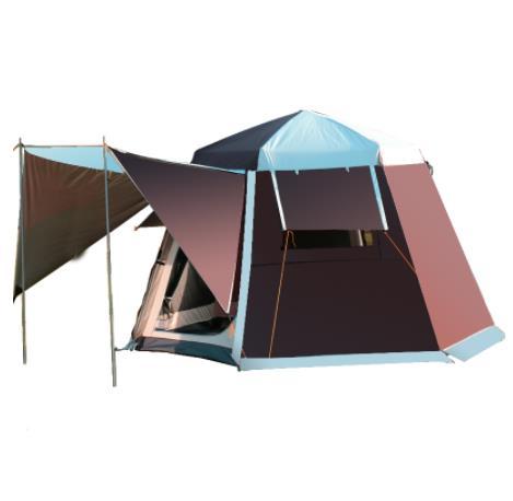 UV Hexagonal aluminium pôle automatique Camping en plein air sauvage grande tente 2-4 personnes auvent jardin Pergola 252*252*168 CM