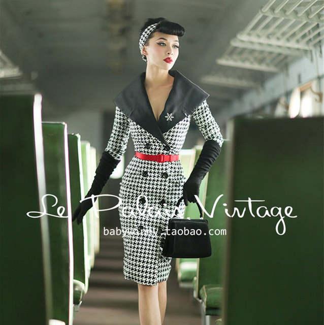 placeholder 45- Le palais vintage women 50s houndstooth long wiggle pencil  shirt dress pinup vestido plus 5bd4eea4aea4