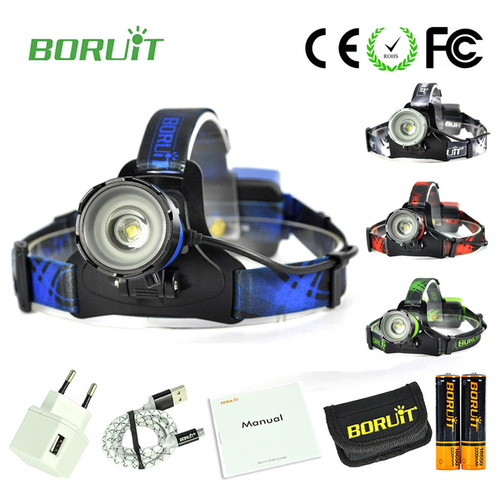 Boruit B13 LED XM-L2 rechargeable head torch with 18650 battery Bicycle Headlight Led Headlamp Flashlight Zoomable high power zk40 cree xm l t6 led headlamp 3800lm zoomable head light waterproof head torch headlight torch lanterna rechargeable head light