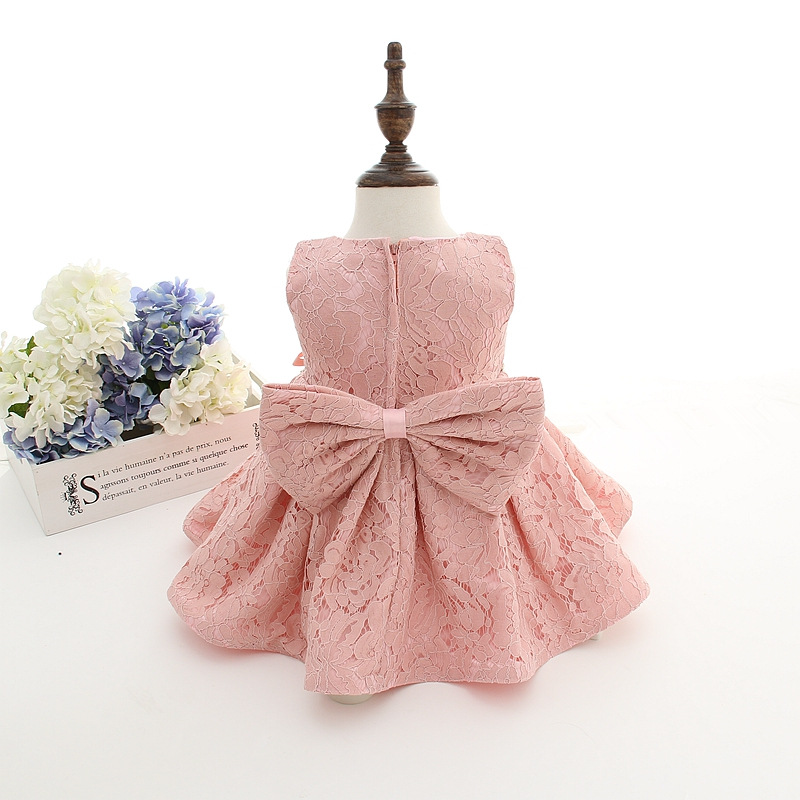 2018 New Summer Baby Girl Baptism Dress With Hat Gown Ball Pink ...