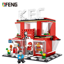 цены Fried chicken shop Fast food restaurant series Building Blocks City Street View Bricks Compatible Model toys Gifts for Children