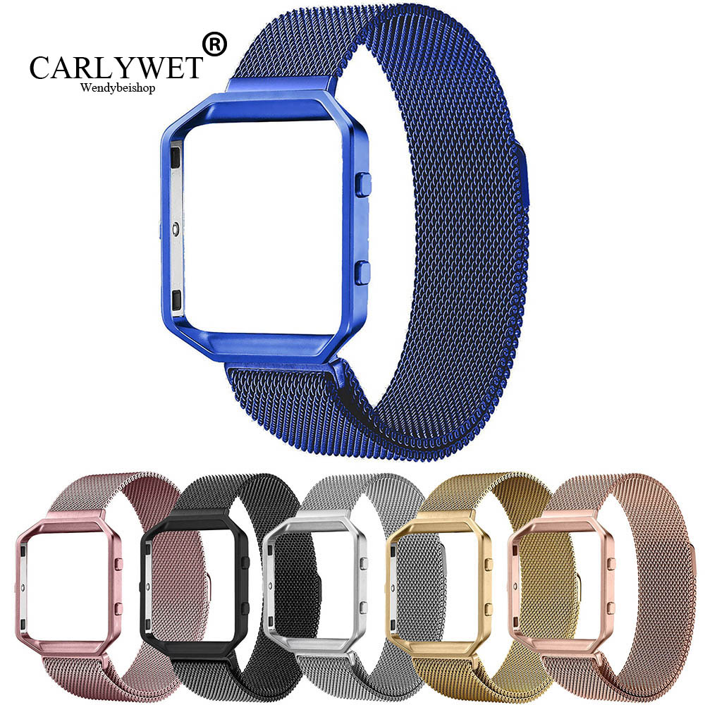 CARLYWET Steel Mesh Milanese Loop Bracelet Wrist Watch Band Strap Belt Magnetic Closure with Case Metal Frame For Fitbit watch crested luxury magnetic milanese loop wrist strap