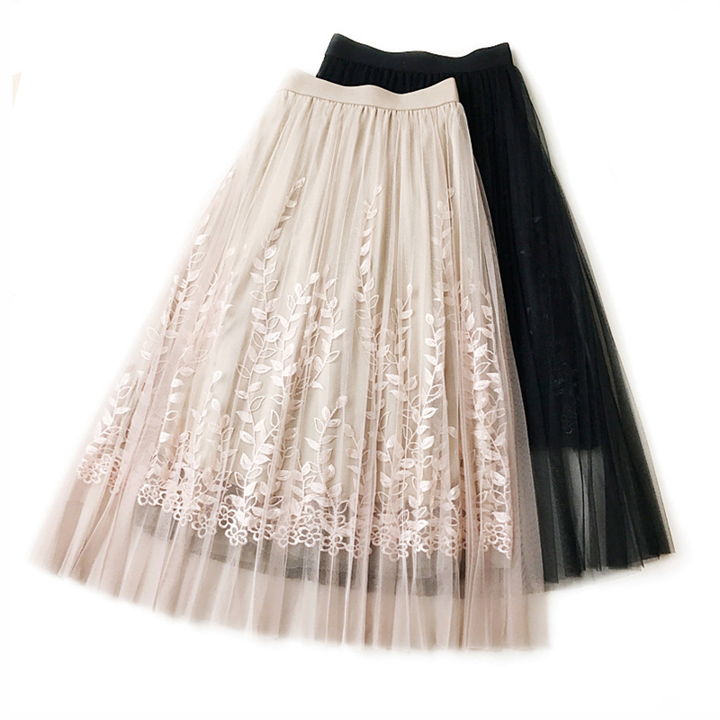 2018 Spring Summer Casual Pleated Mesh Tulle Skirt Women Vintage Embroidery Elastic Mesh Skirt Girls Long Mesh Organza Skirts