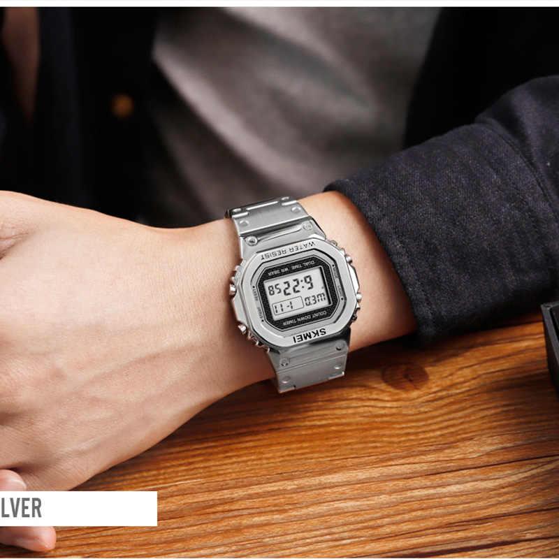 ساعة رجالي في الهواء الطلق ساعة يد رياضية العلامة التجارية الأعلى SKMEI ساعة تنبيه الفولاذ المقاوم للصدأ العد التنازلي ساعة رقمية للرجال reloj hombre