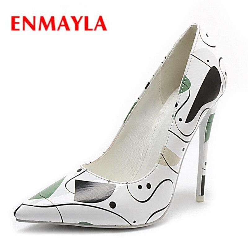 Véritable White À En Minces Talons Pointu Enmayla Hauts Orteil sur 43 Chaussures Cuir Size34 Slip Zyl2213 Pour Femmes Décontracté dgwSUSqxvp