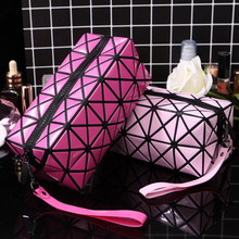 hot deal buy women cosmetic bag cases geometric folding make up bag quality pvc organizer makeup case beauty bags bolsa neceser maquillaje