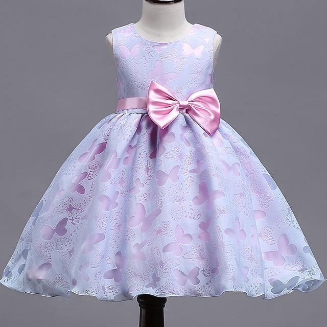 2018 summer new girls dress baby girls purple print butterfly
