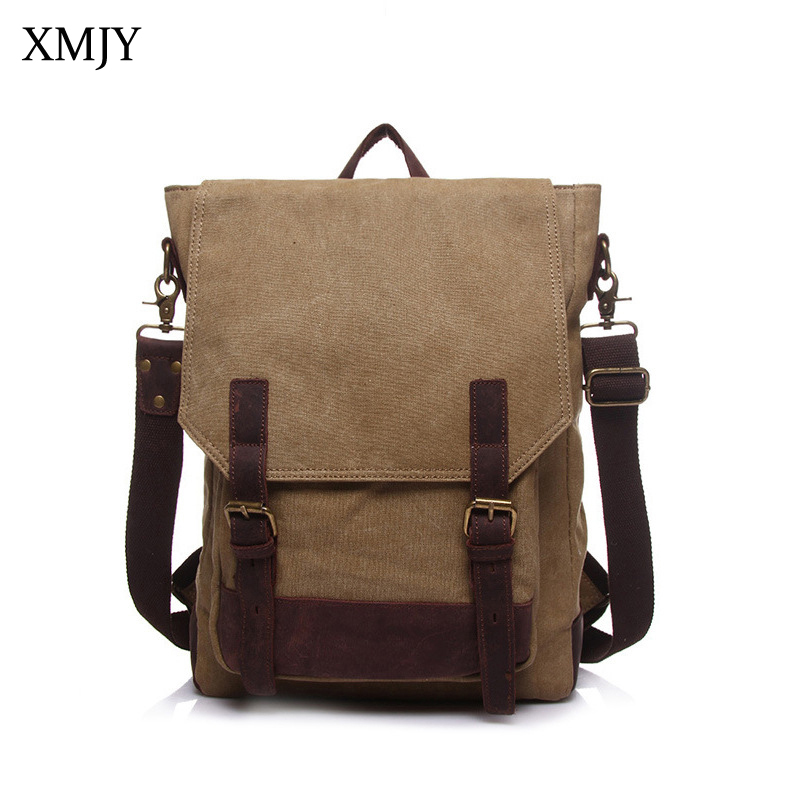 XMJY Canvas Backpacks Canvas With Leather School Backpack Men Women Vintage Functional Shoulder Laptop Rucksack Travel Bags new vintage backpack canvas men shoulder bags leisure travel school bag unisex laptop backpacks men backpack mochilas armygreen