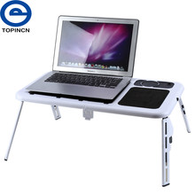 Portable Folding Laptop Desk Adjustable Computer Table With USB Cooling Fans Stand Foldable Table Radiating Hole Tray for Bed(China)