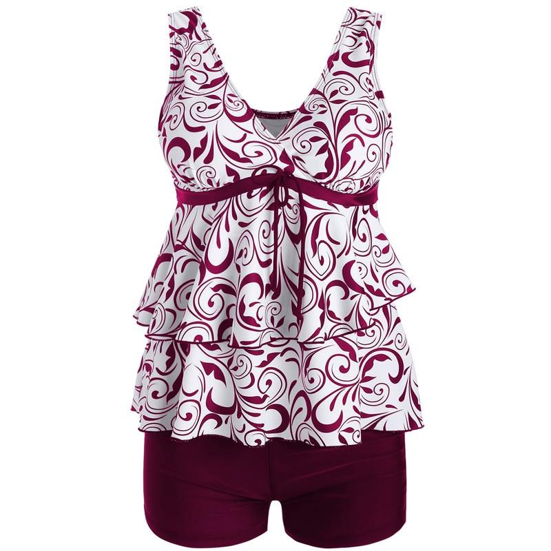 2017 Plus Size Asian Bikini Set Floral Print Double Hems Sports Swimwear Women Swimsuit with Solid Flat Bottom maillot de bain