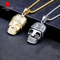 Gold/Silver Stainless Steel Punk Style Skull Head Necklace Human Skull Pendant Biker Men's Jewelry Necklace with 24