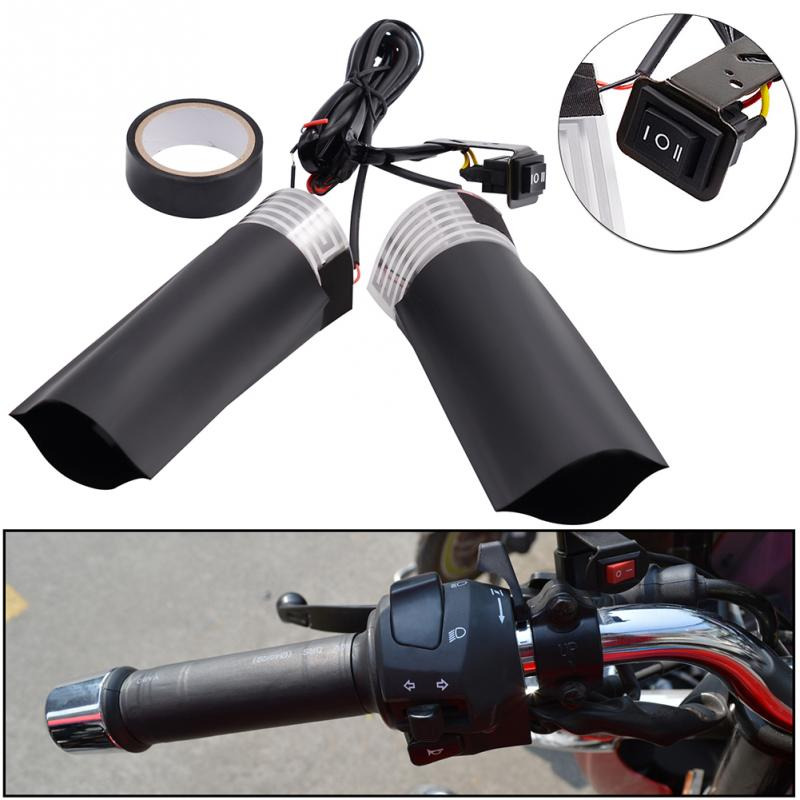 Universal Grip Motorcycle Heated Grip Pads 12V Heated Grips Inserts Handlebar Hand Warmers Fits