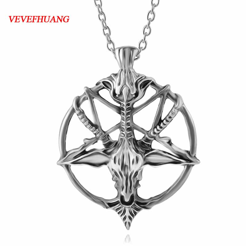 VEVEFHUANG stainless steel Norse Vikings Pendant Necklace Norse Sheep head Original Amulet Animal Jewelry for men and women