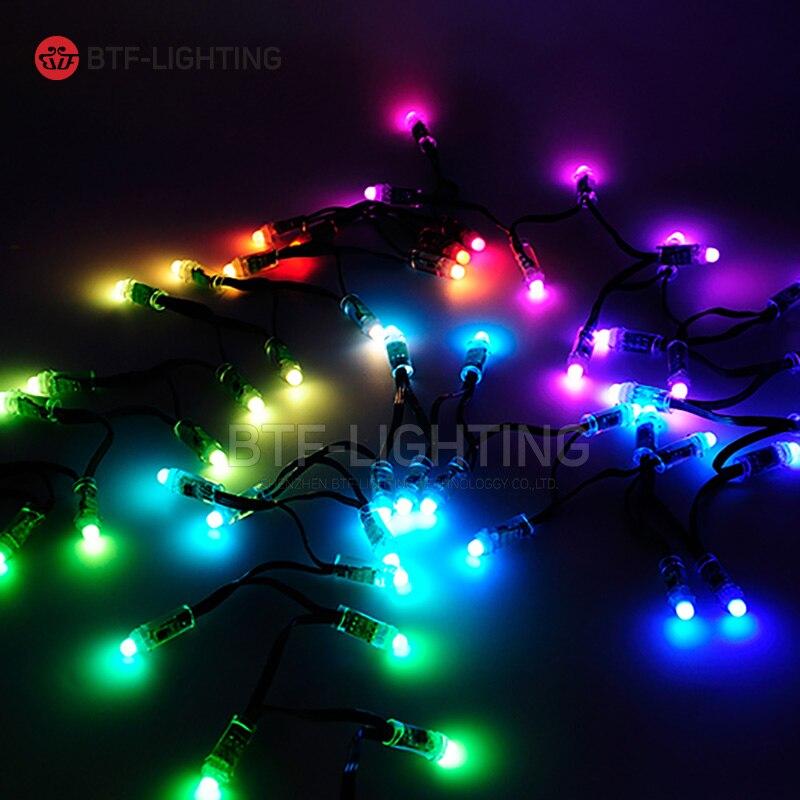 Wholesale 50pcs/100pcs 12mm WS2811 IC LED Pixels Round Modules Black/Green/RWB Wire cable IP68 DC5V Christmas lights