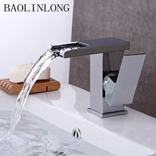 BAOLINLONG Brass Basin Bathroom Waterfall Mixer Faucets Tap Single Hole Vanity Vessel Deck Mount Sinks
