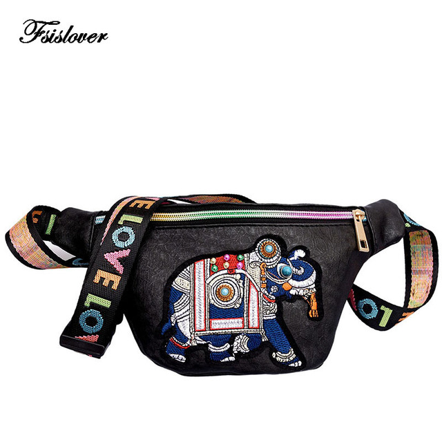 FSISLOVER Vintage Women Embroidery Elephant Fanny Packs Waist Bags Ladies Quilted PU Leather Shoulder Bags Belt Bag Chest Bags