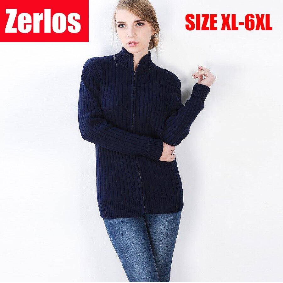 2017 automne hiver chandail femmes mode coton cardigans chandail col roulé couleur unie chaud épais sweatercoat grande taille 6xl-in Cardigans from Mode Femme et Accessoires    1