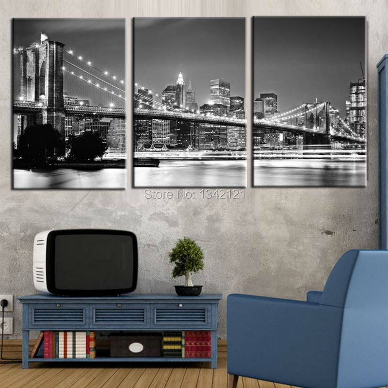 3 piece hot sale Modern Mural New York Brooklyn Bridge Home Decorative Art Paint on canvas frameless