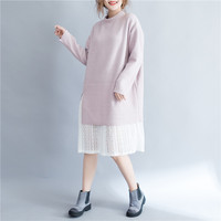 2017 Sakazy Fat Mm Keep Warm Spring Winter Women Dress Lace Patchwork Loose Casual Dresses Female