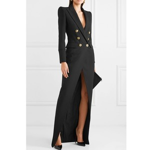 Suit Dress For Women 2020 Autumn Turn-Down Collar Office Lady Dress Sexy Double-breasted Commute Floor Length XXL Long Dresses