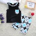 Новое Прибытие 2016 лето baby boy одежда набор с коротким рукавом мультфильм печатных футболку + шорты 2 шт. набор baby boy одежда