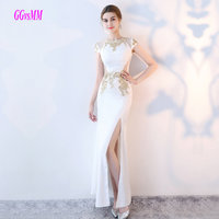 Brilliant White Mermaid Evening Gowns 2018 Long Formal Dresses O-Neck Elastic Satin Zipper Ivory Evening Party Dress Plus Size