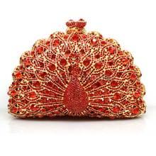 Rot Schminktäschchen Kristall Pfau Kupplungen Handtaschen Damen Abendgesellschaft Kupplung Strass Hochzeit Braut Taschen Handtasche fabrik Q28