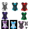 Free pp instyles sexy 8 colors stripe corset busiter lace up boned lingerie showgirl corset dress S-6XL