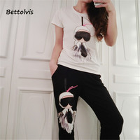 BETTOLVIS 2017 Brand New 2 Piece Clothing Set Fashion Summer Women Top And Pant Set Suits