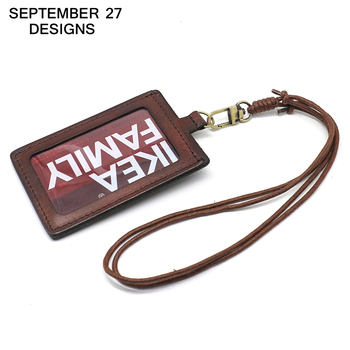 Badge Holder Top layer leather Retractable Lanyard Identity name Student card case Credit Bank Neck Strap Card Bus ID Holders
