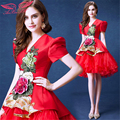 AnXin SH Red flower bride Cocktail Dresses diamond short Cocktail Dresses new spring 298 S