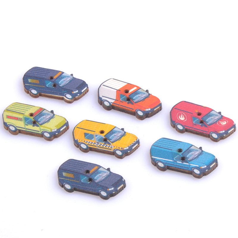 Provided Mixed Vintage Car Painted Wooden Sewing Buttons Handmade Scrapbooking Craft 100pcs 20mm Mt0546 Buttons