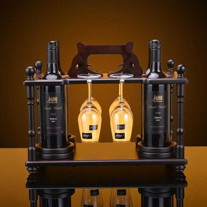 1set creative 45x24x36cm wood wine rack furniture vintage decorative red log champagne stemware wine holder bottle - Wine Racks For Sale