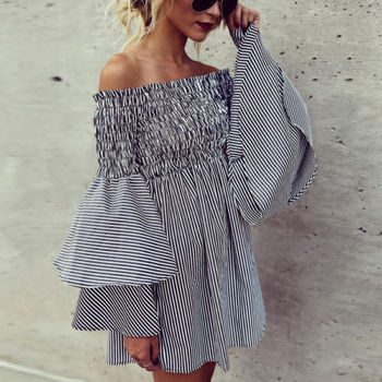 Women Off Shoulder Sleeve Ruffles Striped Casual Party Mini Dress Women Ladies Clothing Dresses