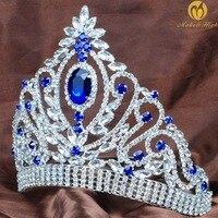 נסיכת חתונת הכלה ניזרת קראון ריינסטון הכחול קריסטל תכשיטי שיער תחרות נשים צעיף סרט מתגעגע