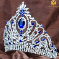 Princess Wedding Bridal Tiara Crown Blue Rhinestone Crystal Headband Veil Miss Pageant Women Hair Jewelry