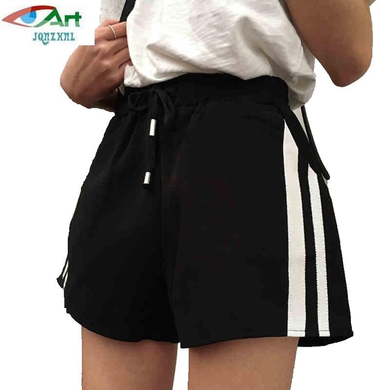 JQNZHNL Shorts Spring Wide-Leg Black High-Waist Stripes Summer Casual Femme New E29 Loose
